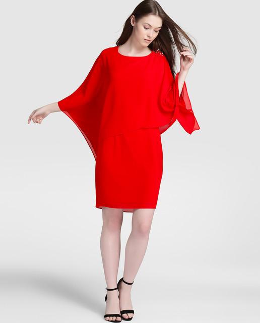 El Corte Inglés - Vestido rojo manga francesa Antea
