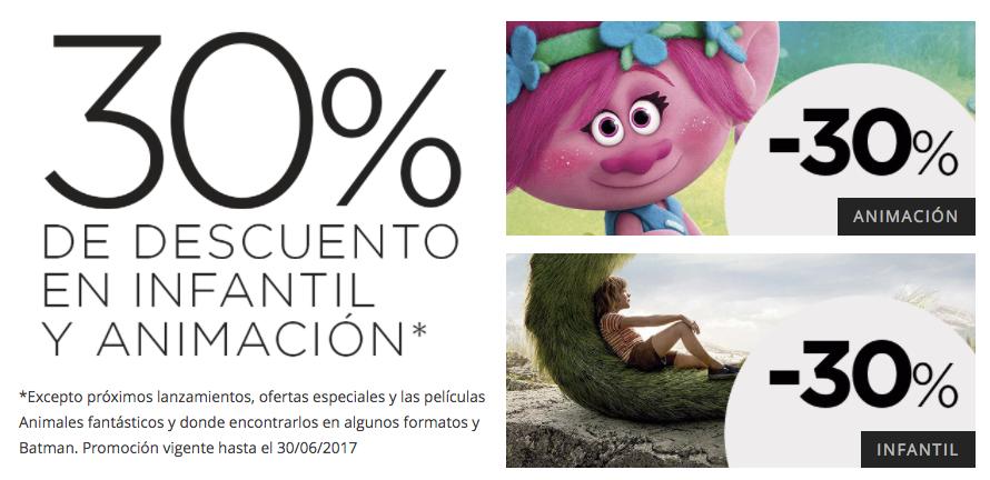 El Corte Inglés - 30% descuento en cine infantil y animación
